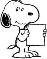 snoopy with paper