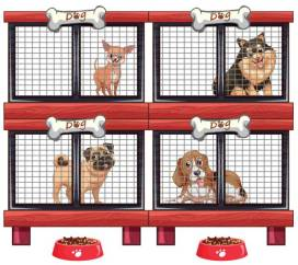 Four types of dogs in cage illustration